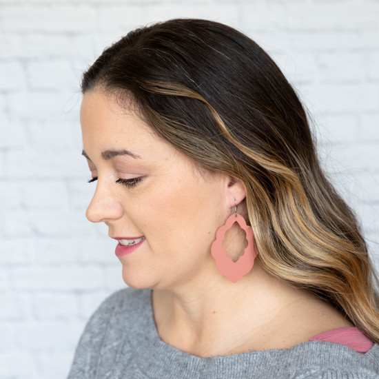 Dusty Coral Cut-Out Leather Earrings