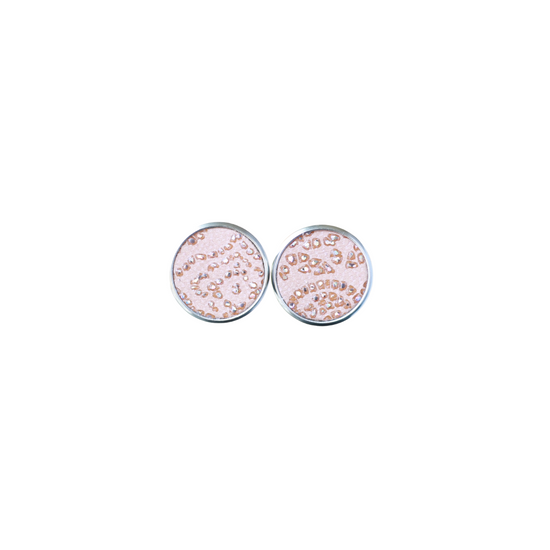 Rhinestone Blush Leather Stud Earring