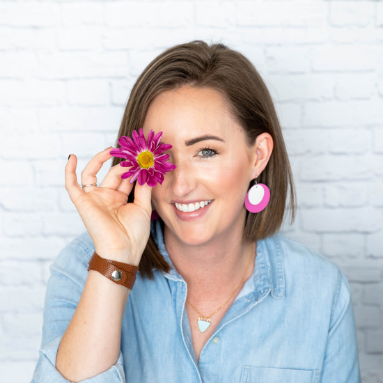 Orchid Layered Leather Halo Earring