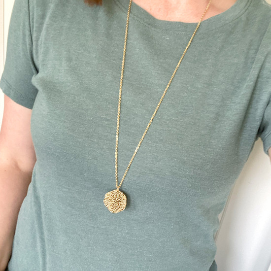 Hammered Gold Pendant Necklace