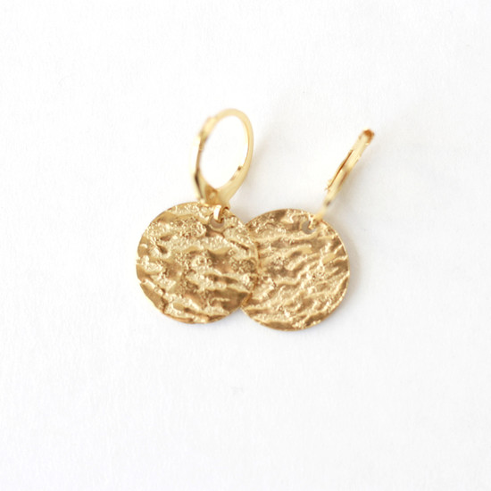 Gold Etched Disc Huggie Hoop Earring