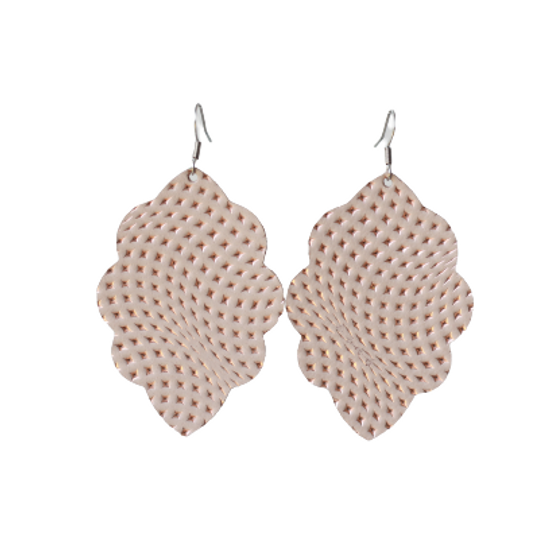 Dusted Taupe Large Solid Leather Earring