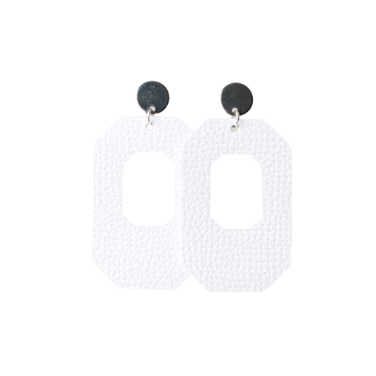 White New York Leather Earring