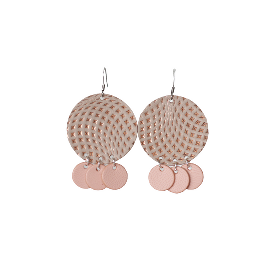 Dusted Taupe Leather Halo Earring