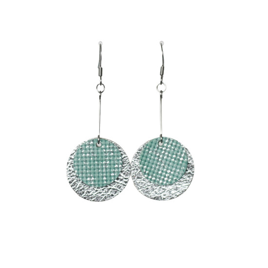 Silver Mint Layered  Earring