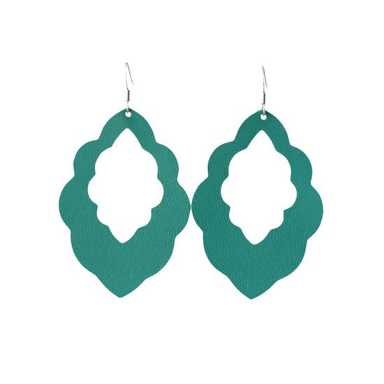 Green Tropic Cut-Out Leather Earrings