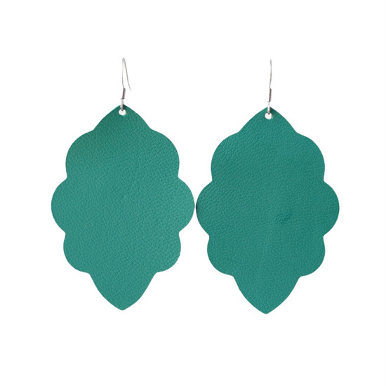 Green Tropic Large Solid Leather Earring