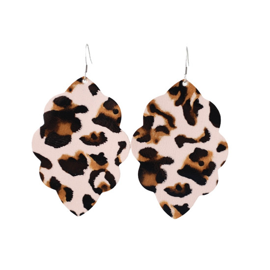 Blushing Leopard Large Solid Leather Earring