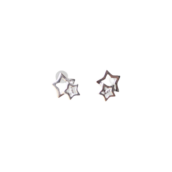 Silver Double Star Stud