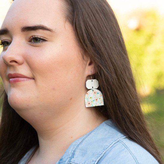 Peach Floral Glam Leather Earring