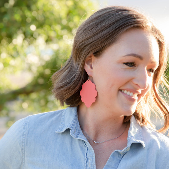 Watermelon Large Solid Leather Earring