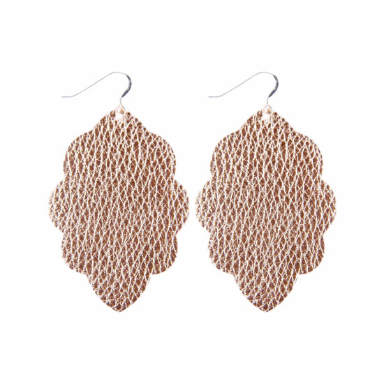 Rose Gold Large Solid Leather Earring