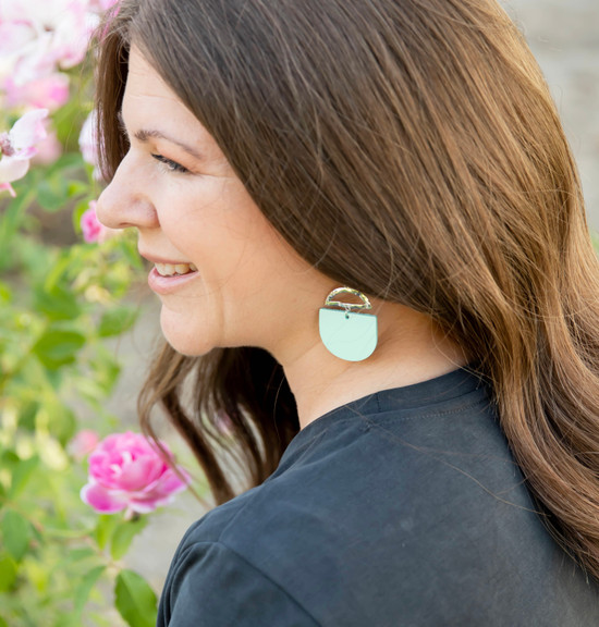 Mint Crescent Leather Earring