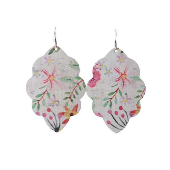 Tropical Bloom Large Solid Leather Earring