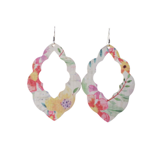 Tropical Bloom Cut-Out Leather Earrings