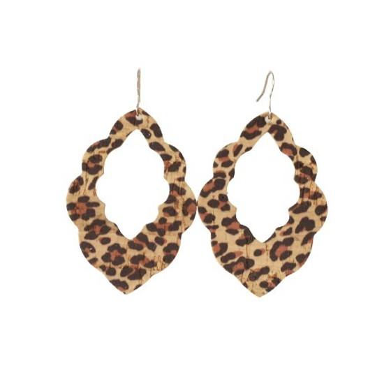 Leopard Cork Cut-Out Leather Earrings