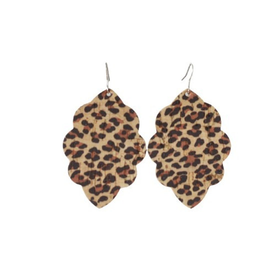 Leopard Cork Large Solid Leather Earring