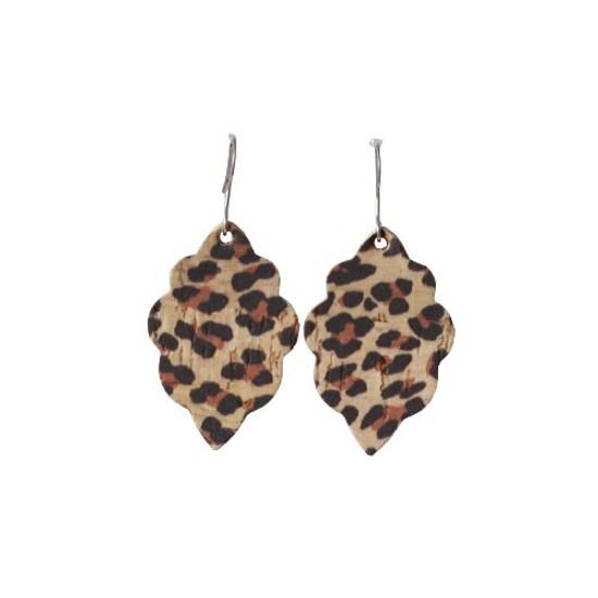 Leopard Cork Mini Leather Earring