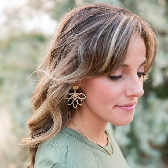 Wood Petal Earring
