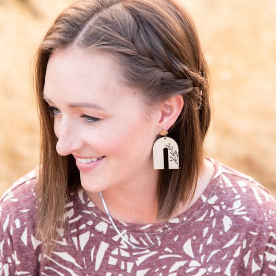 Wood Arch Earring