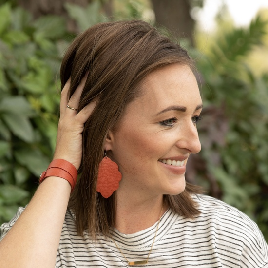 Cinnamon Large Solid Leather Earring