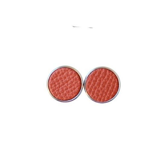 Cinnamon Leather Stud Earring