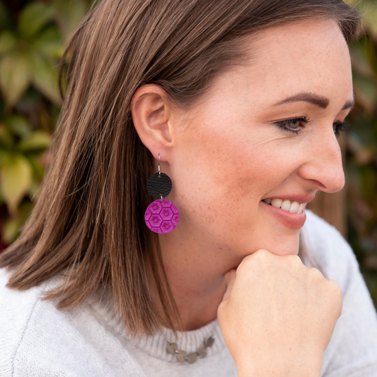 Orchid Drop Leather Earring