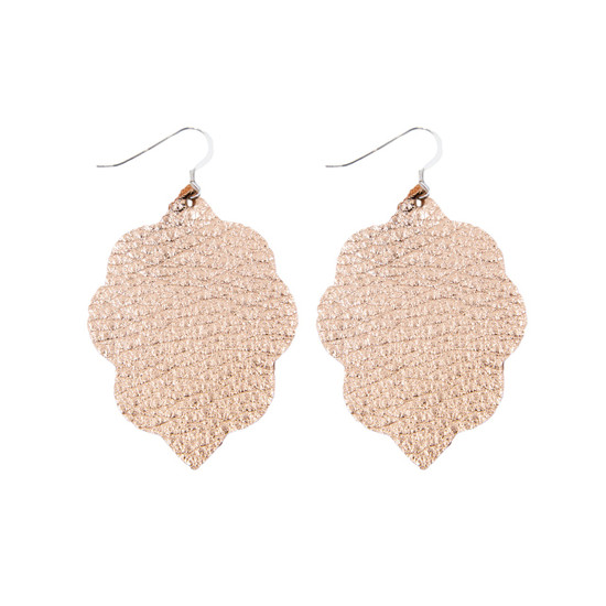 Rose Gold Small Leather Earring