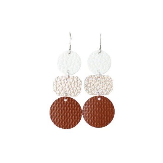 Neutral Ombre' Drop Leather Earring