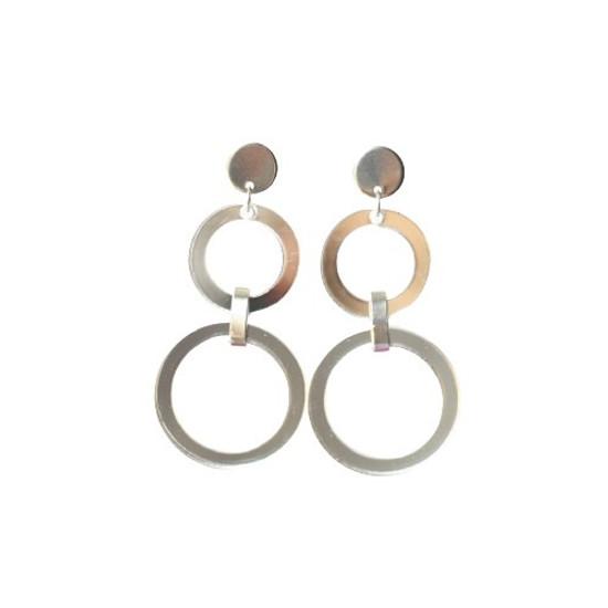 Silver Mirrored Acrylic Drop Earring