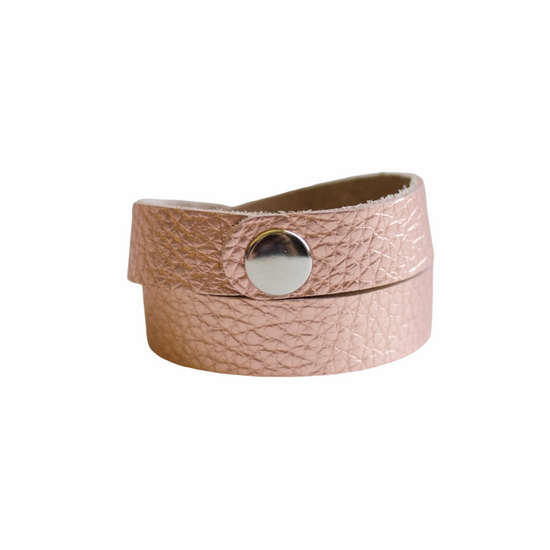 Rose Gold Leather Wrap Bracelet