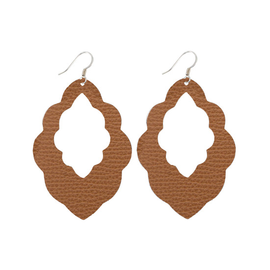 Tan Cut-Out Leather Earring