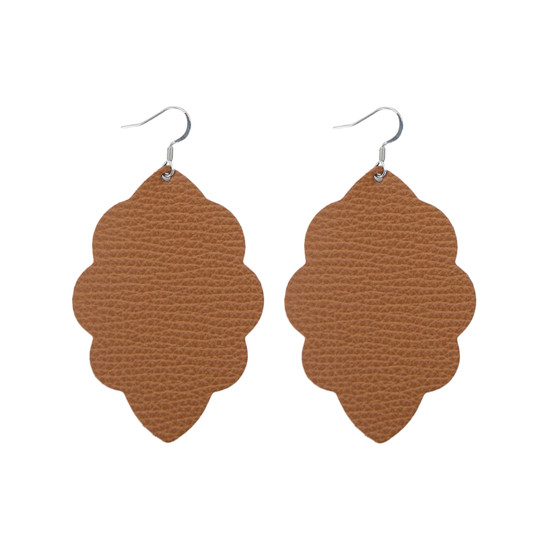 Tan Large Solid Leather Earring