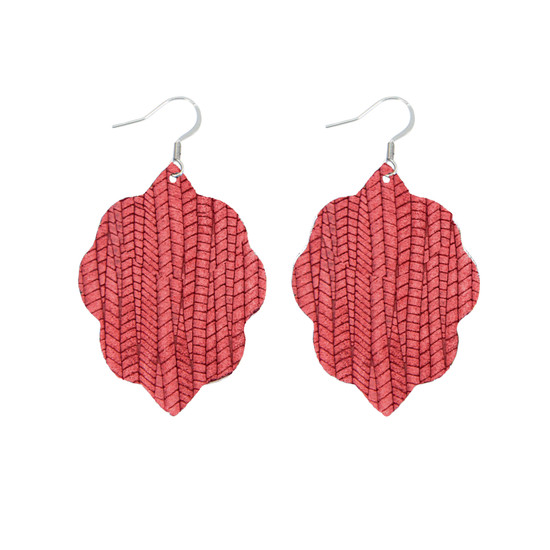 Antique Red Small Leather Earring