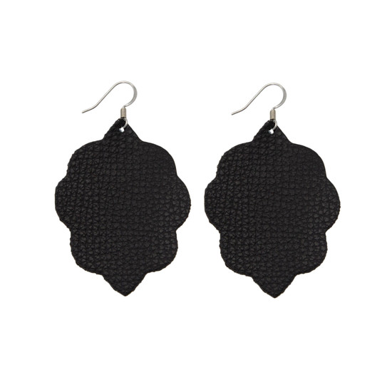 Black Small Leather Earring
