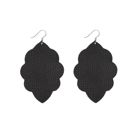 Black Large Solid Leather Earring