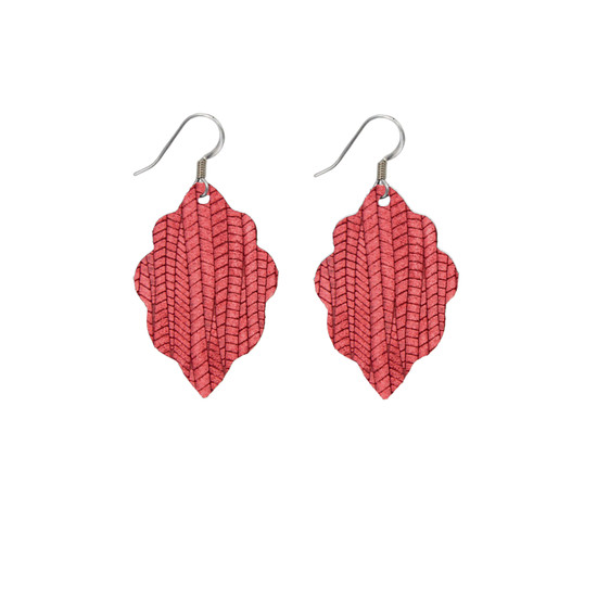 Antique Red Mini Leather Earring