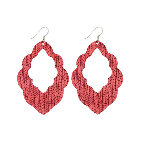 Antique Red Cut-Out Leather Earring