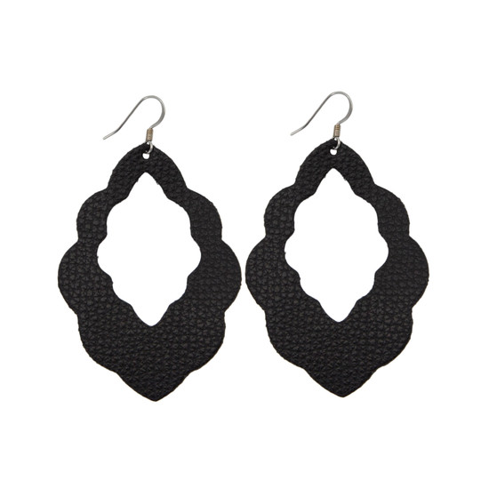 Black Cut-Out Leather Earring