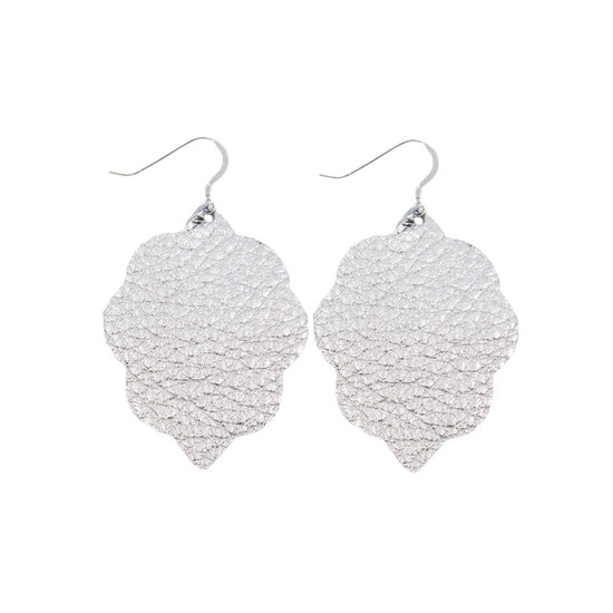 Silver Small Leather Earring