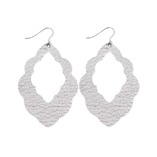 Silver Cut-Out Leather Earring