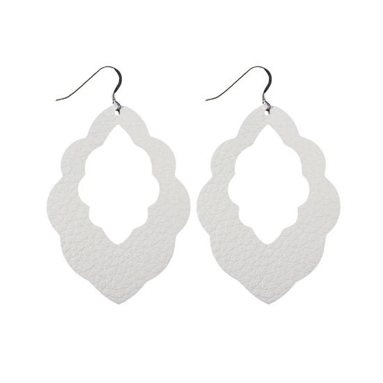 White Cut-Out Leather Earring