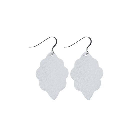 White Mini Leather Earring