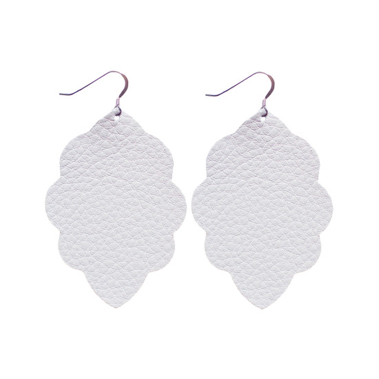 White Large Solid Leather Earring