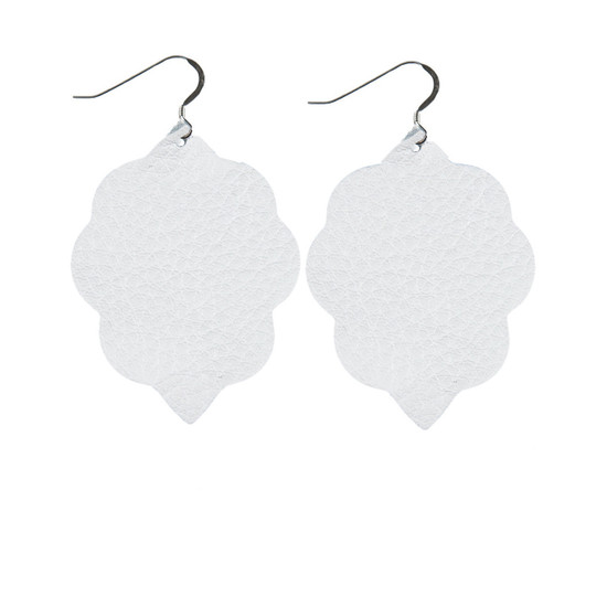 White Small Leather Earring