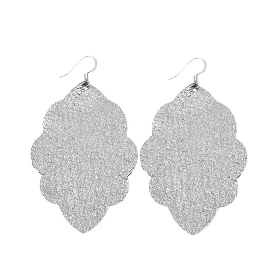 Charcoal Shimmer Large Solid Leather Earring