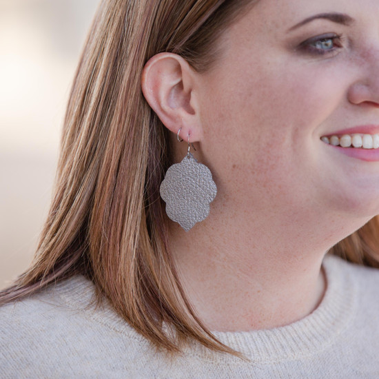 Charcoal Shimmer Small Leather Earring