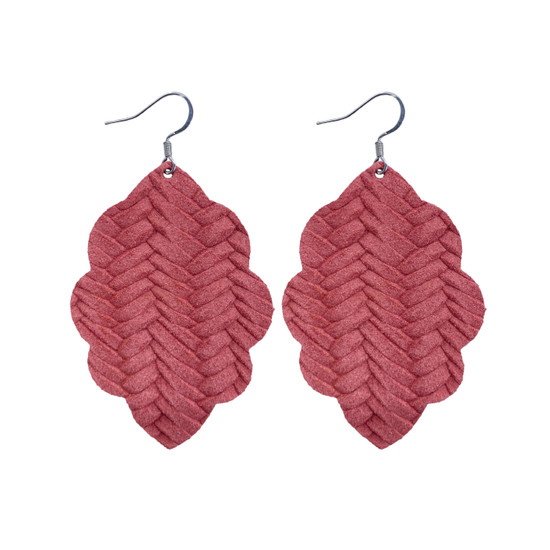 Begonia Large Solid Leather Earring