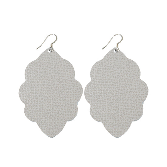 Misty Gray Large Solid Leather Earring
