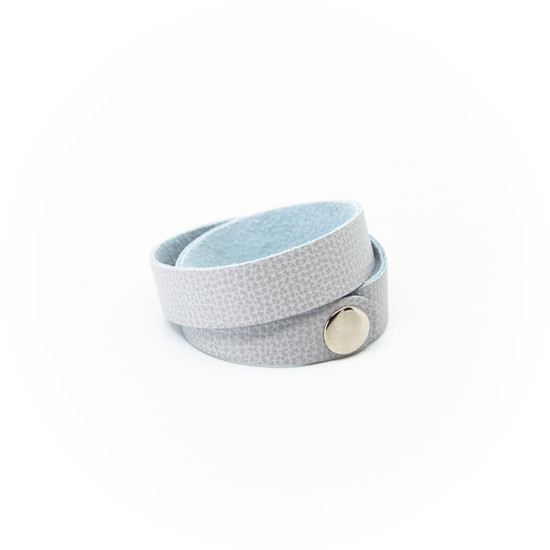 Misty Gray Leather Wrap Bracelet